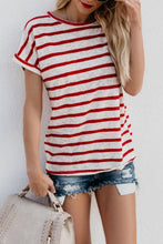 Crew  Neck   Striped  Casual  T-Shirts
