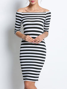 Boat Neck  Striped Bodycon Dress