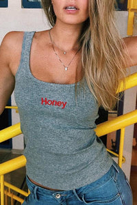 Casual Honey Embroidery Sleeveless Camis