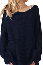 Crew Neck  Asymmetric Hem  Plain Sweaters