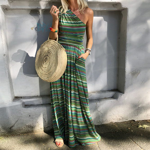 One Shoulder Stripes Patchwork Pocket Maxi Dress