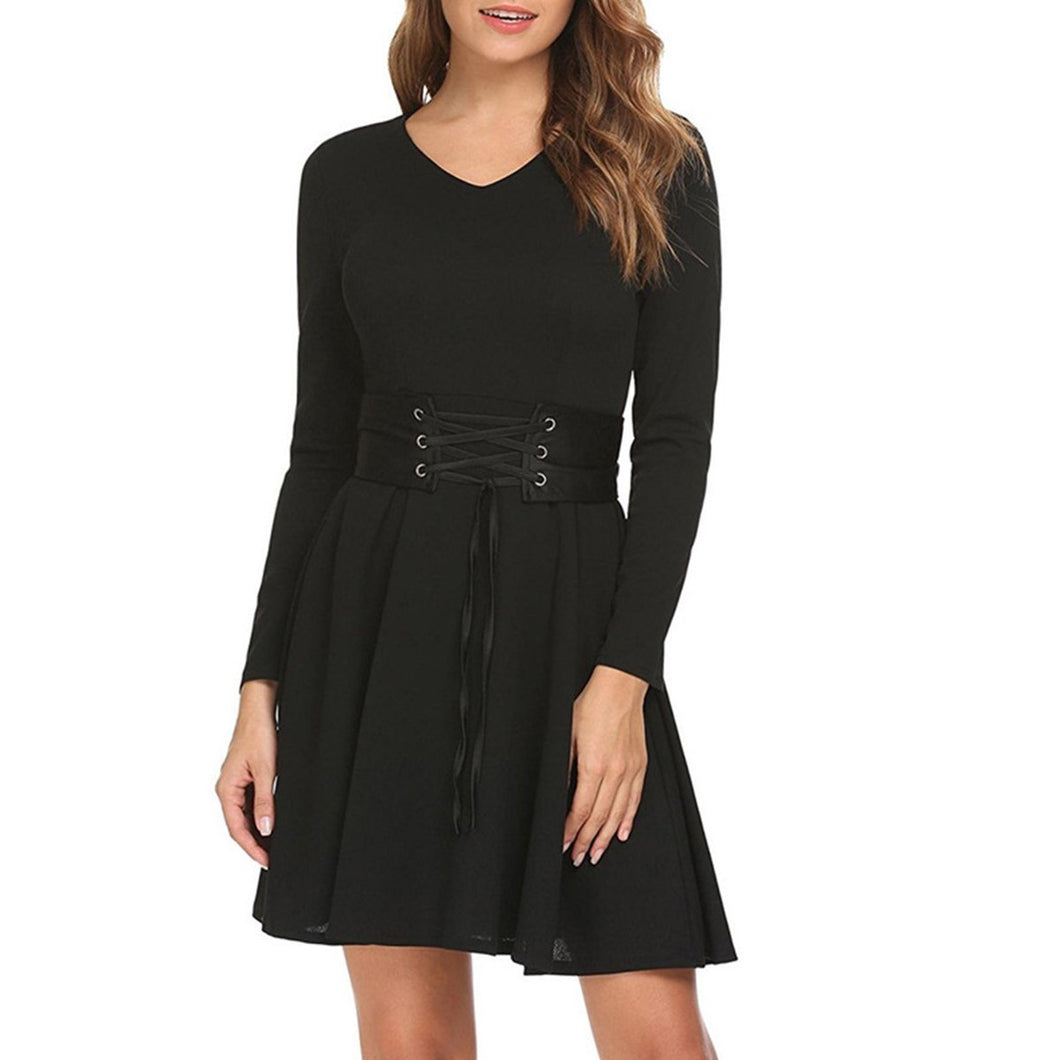 Black Long Sleeve Sexy Woman Skater Dresses