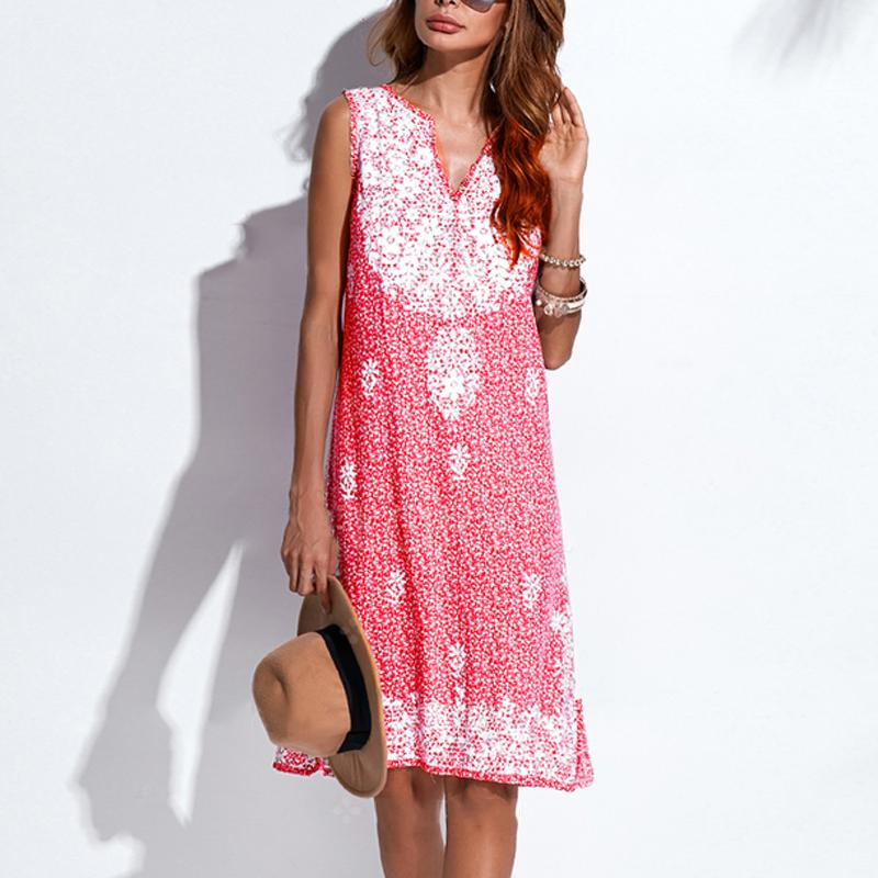 Cotton/Linen Printed Casual Dresses