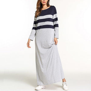 Autumn Round Neck  Coloured Striped Maxi  Dress