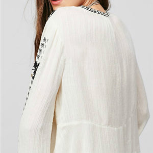 Elegant Embroidery V Neck Flare Sleeve Blouse