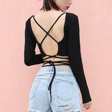 Backless Round Collar Pure Color Bandage Long Sleeve T-Shirt