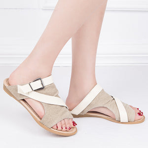 Color Block  Flat  Peep Toe  Casual Date Slippers