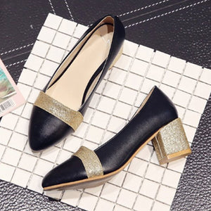 Color Block  Chunky  Mid Heeled  Point Toe  Date Pumps