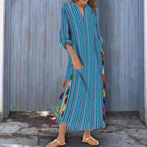 Cotton/Polyester Printed Stripe Tassel V-Neck Casual Dress