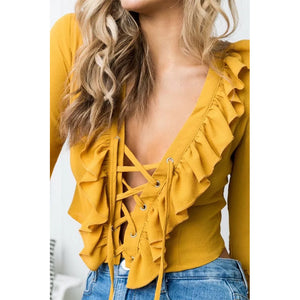 Deep V Neck With Chiffons Long Sleeve T-Shirts