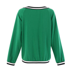 Color Matching V-Neck Long-Sleeved Loose Women's Sweater