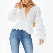 Deep V Neck Long Lantern Sleeve With Chiffons T-Shirts