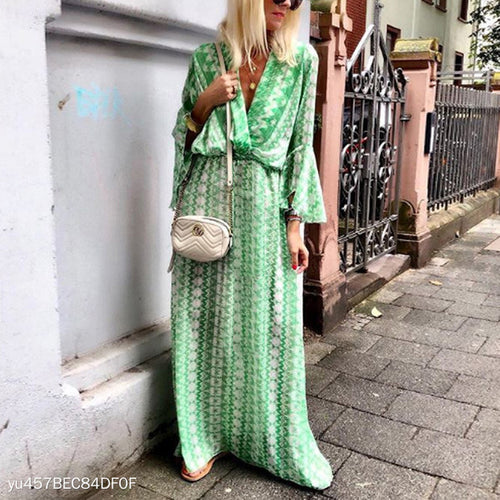 Bohemian Printed V Neck Lace Up Flare Sleeve Maxi Dress