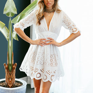 Deep V Neck Embroidery Hollow Out Half Sleeve Skater Dress