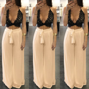 Chiffon Lace Up Plain Loose Casual Pants