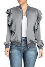 Band Collar  Flounce  Plain Jackets