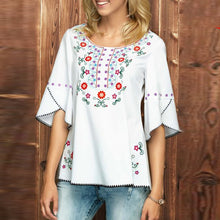 Elegant Round Neck Embroidery Flare Sleeve Casual T-Shirts