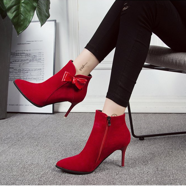 Elegant Stiletto Heel Point Toe Bow-Knot  Ankle Boots