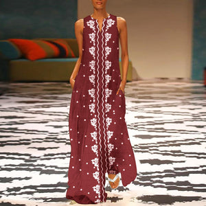 Fashion Round Collar Floral Printed Maxi Dress