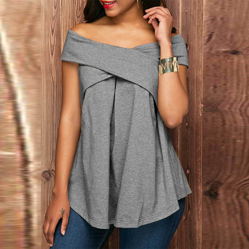 Elegant Off Shoulder Short Sleeve T-Shirts