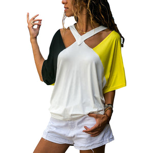 V Neck Hollow Out Half Sleeve Color Block T-Shirts