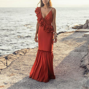 Elegant Splicing V-Neck Maxi Dress