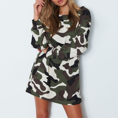 Round Neck Camouflage Printed Long Sleeve Casual Dress
