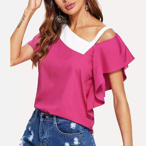 Asymmetrical Collar Hollow Out Flare Sleeve Color Block T-Shirts
