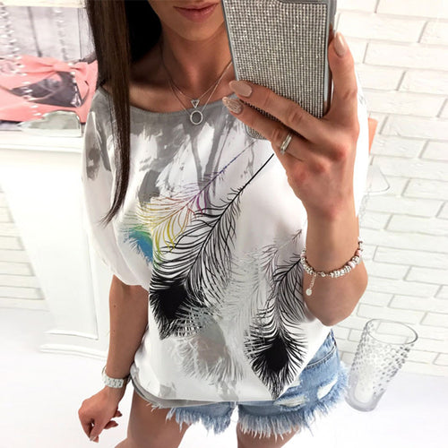 Round Neck Short Sleeve Feather Printed Gradient T-Shirts