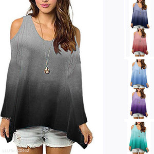 Round Neck Strapless Shoulder Long Sleeve Casual T-Shirts