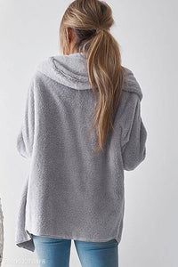 Fashion Casual Long Sleeves Plush Hooded Loose Cardigans