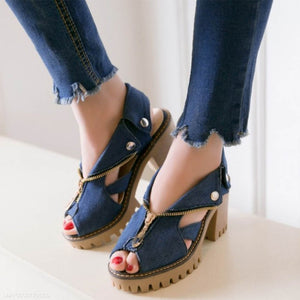 Denim Casual Fish Mouth Sandals With High Thick Heel