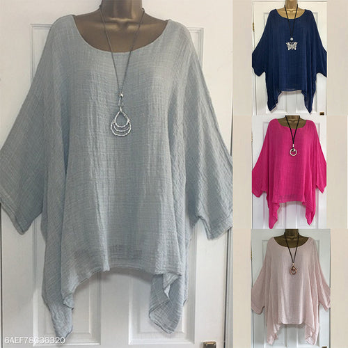 Round Neck Plain Batwing Half Sleeve Blouses