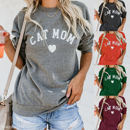Round Neck Letters Printed Long Sleeve Sweatershirts