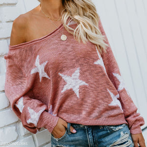 Diagonal Collars Long Sleeve Knit Star T-Shirts