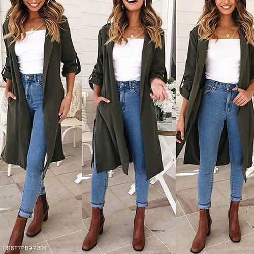 Lapel Plain Pocket Roll Up Sleeves Belt Casual Trench Coat