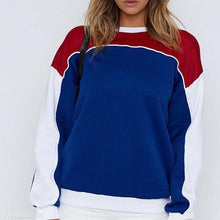 Colorblock Round Neck Long Sleeve Sweatershirts