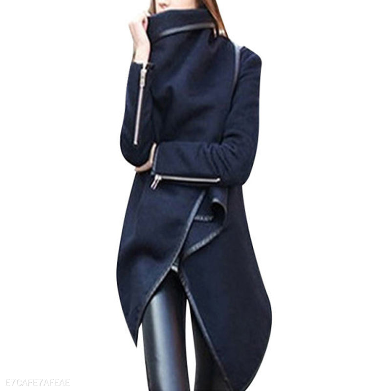 Turtle Neck Front Wrapped Zipper Trench Coat
