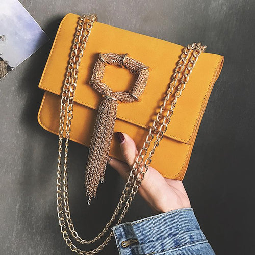 Fashion Casual Nifty Square Shape Fringe Front Chain Small One Shoulder Bag