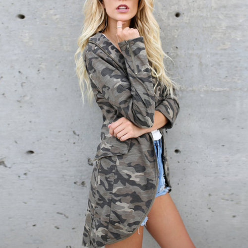 Lapel Zipper Camouflage Printed Pocket Trench Coat