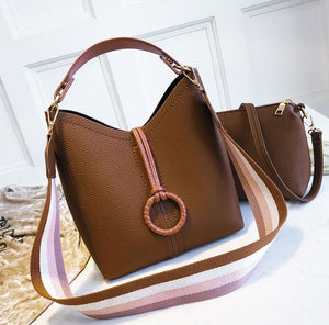 Fashion Casual Plain Strip Belt One Shoulder Hand Bucket Bag