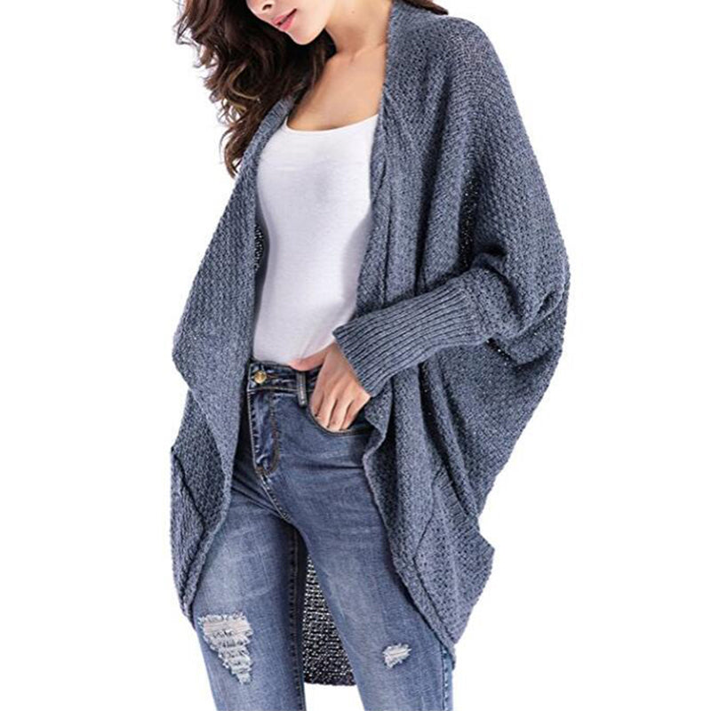 Fashion Asymmetrical Hem Long Batwing Sleeve Pocket Cardigans