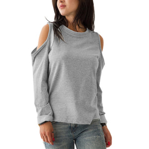 Round Neck Long Sleeve Hollow Out Sweatershirts
