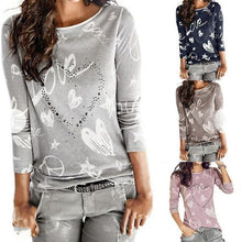 Round Neck  Diamante  Printed T-Shirts