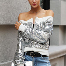 A Stylish Shoulder-Length Long-Sleeved Sequined Jacket