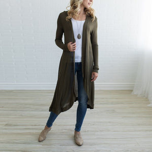 Casual Long Sleeve Plain Cardigans