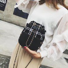 Fashion Casual Bucket Leather Knitting Color Block Chain One Shoulder Bag