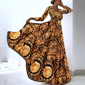 Early Autumn Long Sleeve Vintage Floral Print Maxi Dress Vacation Dress
