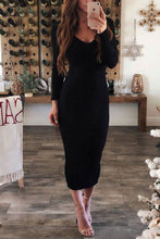 Deep V Neck  Plain  Long Sleeve Maxi Dresses