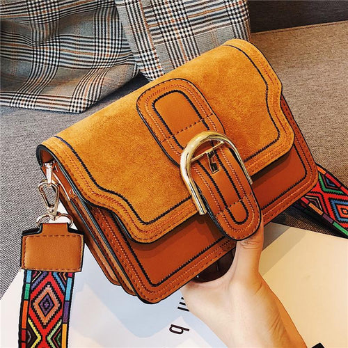 Casual Fashion Nifty Buckle Rectangle Color Belt One Shoulder Bag